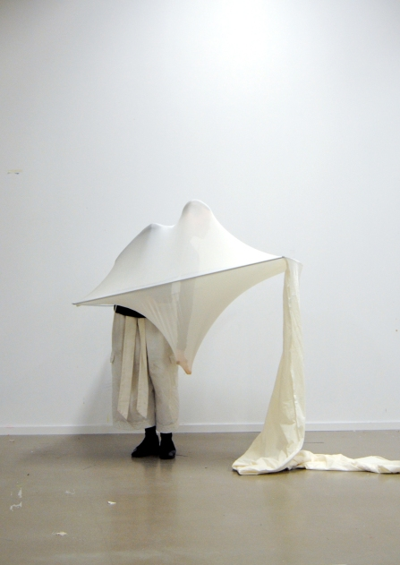 Person performance in a white stretchy fabric