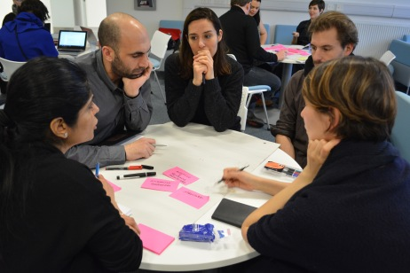 The PhD students formulate in groups what unites the different projects with each other.